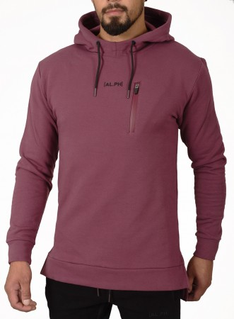 Plum Red Alpha Physique Fishtail hoodie